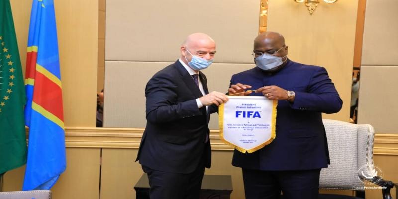 PRESIDENT DE LA FIFA GIANNI INFANTINO ET PRESIDENT DE LA RDC FELIX ANTOINE TSHISEKEDI